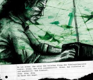 """Buchillustration zum Roman """"Der grüne Leguan"""""""